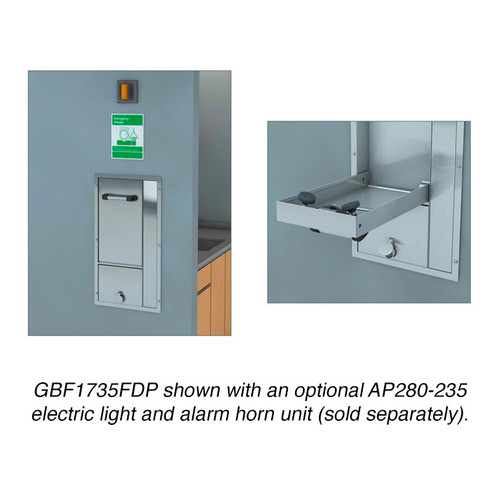 A photograph of a GBF1735FDP mounted into a wall and shown in the closed position (left) and open position (right).  An optional AP280 electric light and alarm horn unit (not included) is also shown.
