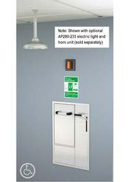 A photograph of a GBF2150 installed in a room along with an optional AP280-230 electric light/horn (sold separately).