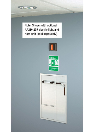 A photograph of a GBF2160 installed in a room along with an optional AP280-230 electric light/horn (sold separately).
