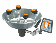 A photograph of a Guardian G1724 Eyewash, WideArea™ Eye/Face Washes, Wall Mounted, Stainless Steel Bowl.