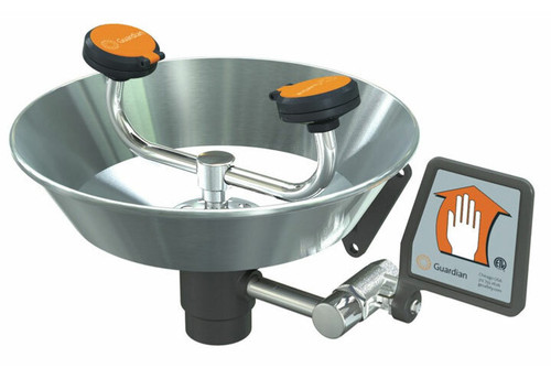 A photograph of a Guardian G1750 Eye/Face Washes, Wall Mounted, Stainless Steel Bowl.