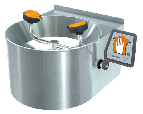 A photograph of a Guardian G1753 Eye/Face Wash, Wall Mounted, Stainless Steel Bowl and Skirt.