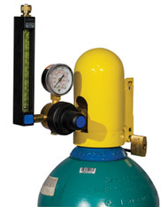 A photograph of a yellow 07200 justrite safety snap cap heavy-duty gas cylinder lockout device with padlock in closed position on gas cylinder.