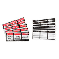 A photograph of red and black trilingual 07250 labels for safety plastic padlocks, with 6 per package.
