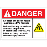 A photograph of a 07320 ansi danger arc flash and shock hazard labels and sign with  ansi shock icon.