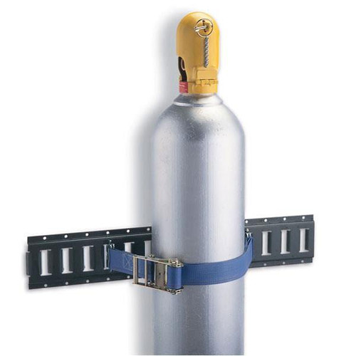 A photograph of a 07203 cylinder rack system 5-foot track section with gas cylinder installed.