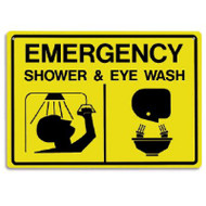 A photograph of a yellow and black 04030 emergency shower and eyewash sign with graphics.