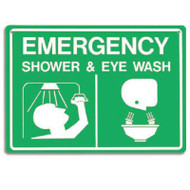 A photograph of a green and white 04031 emergency shower and eye wash sign with graphics.
