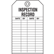 A photograph of a 04033 inspection record tags, with 5 per package.