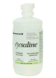 An unopened 32 oz bottle of Honeywell Eyesaline®.