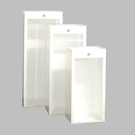 A photograph of three 09341 jl classic series surface mounted galvanized extinguisher cabinets, in small, medium, and large sizes.