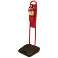 A photograph of a red 09348 fire extinguisher stand with fire extinguisher installed.