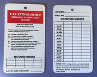 Fire Extinguisher Tags, 2 Sided, Recharge & Inspection, Rigid Plastic, 10/Pkg