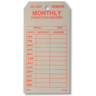 Economy Single-Sided Fire Extinguisher Monthly Inspection Tags, 50/pkg