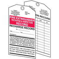 A photograph of both sides of a 09372 recharge and inspection fire extinguisher tag.