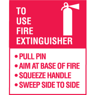 A photograph of a red and white 09382 p.a.s.s. fire extinguisher decal, with 5 per package.