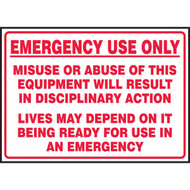 A photograph of a red and white 09383 emergency use only fire extinguisher and equipment decals, with 5 per package.