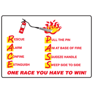 A photograph of a red and white 09387 fire extinguisher race and p.a.s.s. procedure sign with graphic.
