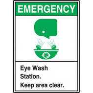 A photograph of a green and white 09391 emergency eye wash station ansi sign with graphics.
