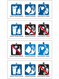 A photograph of a 09395 fire extinguisher labels with NAFED pictograms, and with 5 identical labels per card.
