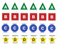 """A photograph of a 09396 fire extinguisher class A, B, C, and D letter/symbol labels, with 1.5"""" x 1.5""""  and 3"""" x 3"""" sizes."""