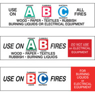 A photograph of a 09397 A, B, and C fire extinguisher class lettered labels, with 6 per package.