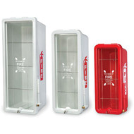 A photograph of three 09410 firetech extinguisher cabinets for 5, 10 and 20 lb extinguishers.