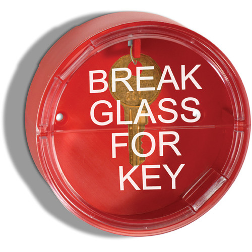 """A photograph of a red 09432 two piece emergency key box with 4"""" diameter breakable front window reading break glass for key."""