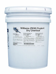 A picture of a 50 lb pail of Williams PKW (Purple-K) Class BC Extinguisher Powder.