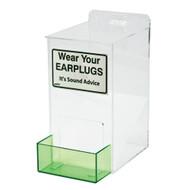 A photograph of a clear 06015 ear plug dispenser.
