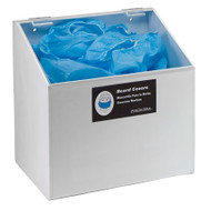 A photograph of a white 06030 one compartment lid access dispenser for hair, beard, shoe or arm covers, with covers inside.