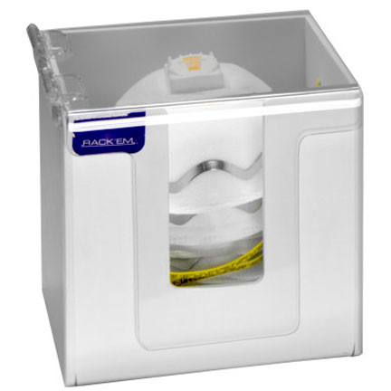 A photograph of a small white 06034 dust mask/disposable respirator dispenser with masks inside.