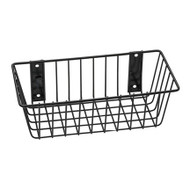 """A photograph of a 06043 economical black wire basket, dimensions 12"""" length, 6"""" depth, 4"""" height."""