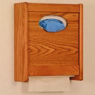 Medium oak dispenser, closed.  Gloves not included.