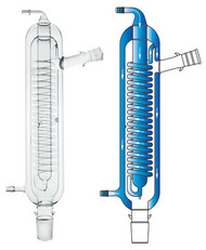 A composite image with a photograph of a CG-1215-C high efficiency condenser on the left and a diagram showing the water flow through the condenser on the right.