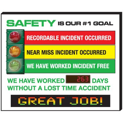 A photograph of a red, yellow, and green 06351 safety is our #1 goal stoplight electronic signal scoreboard.