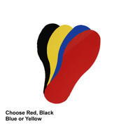 A photograph of black, yellow, blue, and red 06437 removable footprints, with 20 per package.