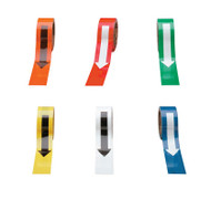 A photograph of an orange, a red, a green, a yellow, a white, and a blue 06403 directional arrow tape.