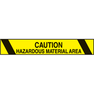 A photograph of a yellow and black 06457 printed warning tape, reading caution hazardous material area, with black bars.