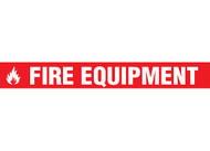 """Picture of Printed Warning Tape reading """"Fire Equipment"""" in white lettering on red background."""