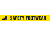 """Picture of Printed Warning Tape reading """"Safety Footwear"""" in black lettering on yellow background."""