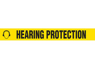 """Picture of Printed Warning Tape reading """"Hearing Protection"""" in black lettering on yellow background."""