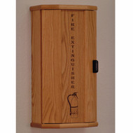 Picture of light oak 5 lb. fire extinguisher cabinet with engraved front with door closed.