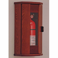 Picture of mahogany 5 lb. fire extinguisher cabinet with acrylic front with door closed.