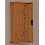 Picture of light oak 10 lb. fire extinguisher cabinet with engraved front with door closed.