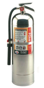 A photograph of a Badger F-250 Universal Ultra AR-AFFF Foam Fire Extinguisher.