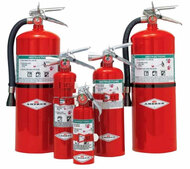 A group photograph of (left to right) a 15.5, 2.5, 1.4, 5, and 11 pound Amerex Halotron I Fire Extinguisher.