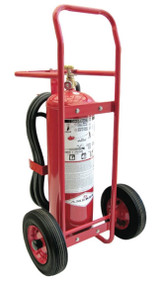 A photograph of a small 09566 amerex stored pressure wheeled fire extinguisher.