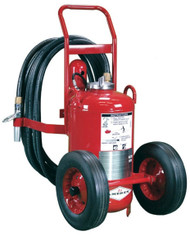 A photograph of a 09564 amerex direct pressure wheeled fire extinguisher with semi-pneumatic wheels.