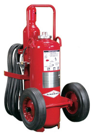 A photograph of a 09562 amerex regulated pressure wheeled fire extinguishers with semi-pneumatic wheels.